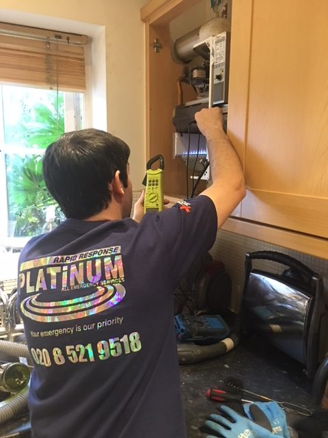 Gas Safe Plumbing & Heating Engineer carrying out a full boiler service in Walthamstow
