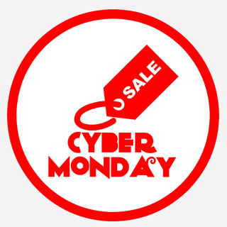 Red circle with Cyber Monday discount sale sign inside