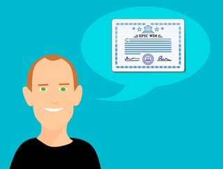 Man standing with insurance certificate for a plumber