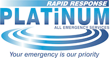 Platinum Emergency Services Ltd company logo. Rapid response Platinum all emergency services is written in blue with a white background.